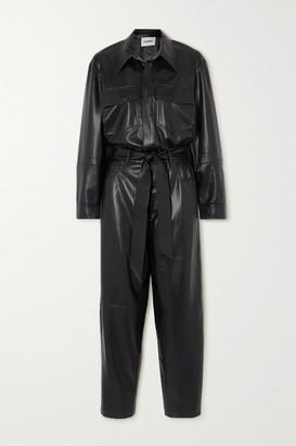 Nanushka Ashton Belted Vegan Leather Jumpsuit - Black