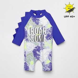 River Island Baby blue printed sunsafe all in one swimsuit