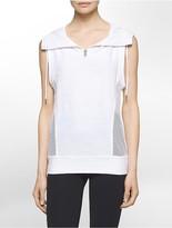 Calvin Klein Performance Hooded Funnel Zip-Neck Sleeveless Top