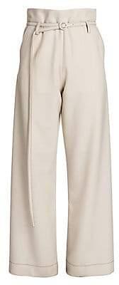 Marni Women's Twisted Wool Belted Full Leg Trousers