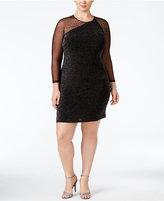 Calvin Klein Plus Size Metallic Illusion Sheath Dress