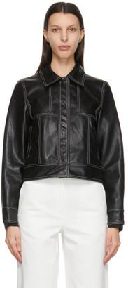LVIR Black Faux-Leather Slim Short Jacket