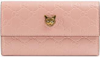 Gucci Signature continental wallet with cat