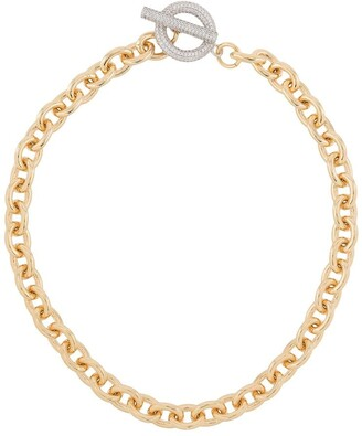 Numbering pave T-bar necklace