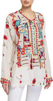 Johnny Was Plus Size Bracciana Embroidered Silk Blouse