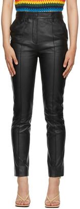Victoria Victoria Beckham Black Leather Straight-Leg Trousers