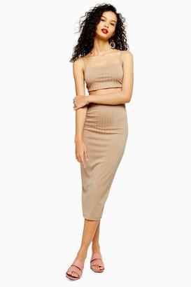 Topshop Womens Stone Ribbed Skirt - Stone