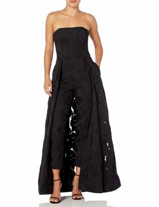 Halston Women's Strapless Jacquard Jumpsuit with Skirt Overlay