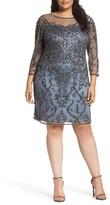 Pisarro Nights Plus Size Women's Illusion Sleeve Beaded Sheath Dress