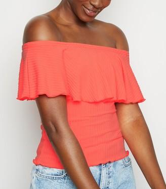 New Look Ribbed Frill Bardot Top