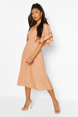 boohoo Mix Scale Polka Dot Ruffle Sleeve Midi Dress
