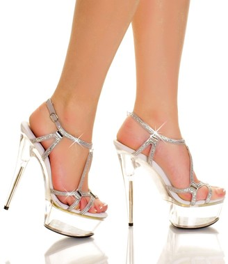 "The Highest Heel Glamorous-51 Rhinestone Accented Platform Sandal with 6"" Heels"
