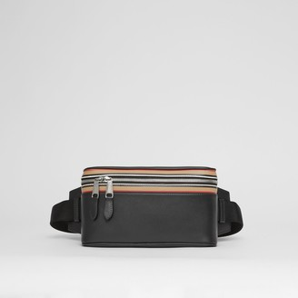 Burberry Icon Stripe Print Leather Cube Bum Bag