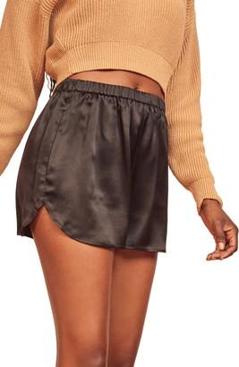 Reformation Nero Silk Shorts
