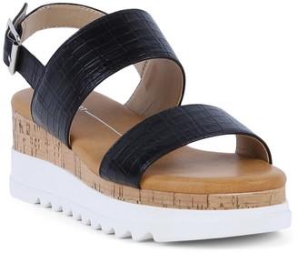 Report Croc Embossed White Platform Sandal