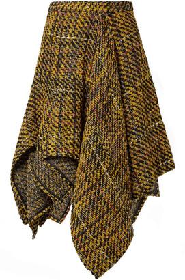 Koché Asymmetric Draped Boucle-tweed Skirt