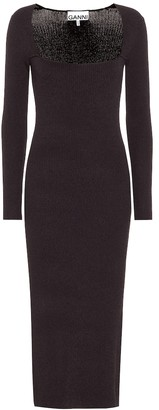 Ganni Stretch-knit midi dress