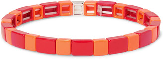 Roxanne Assoulin Brick By Brick Enamel And Silver-Tone Bracelet