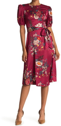 London Times Floral Puff Sleeve Satin Jacquard Dress