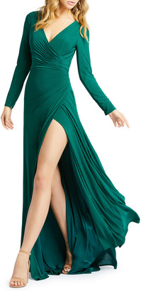 Mac Duggal Long-Sleeve Jersey Wrapped-Bodice Gown w/ Thigh Slit