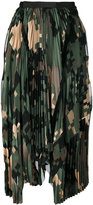 Sacai asymmetric pixel camouflage pleated skirt - women - Polyester/Cupro - 2