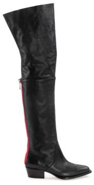 HUGO BOSS Over-the-knee calf-leather boots with contrast zip detail