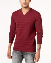 GUESS Men's Split-Neck Striped Shirt