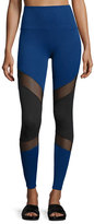 Beyond Yoga Deco Mirror Paneled High-Waist Long Leggings, Black/Cobalt