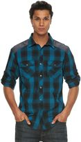 Rock & Republic Big & Tall Military Plaid Button-Front Shirt
