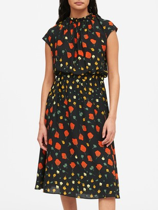 Banana Republic Petite Print Midi Dress