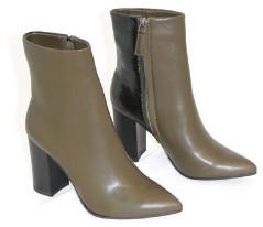 Collection & Co - Pelion Khaki Block Heeled Boot - 35 / Khaki / Black