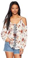Jolt Women's Printed Embroidered Cold Shoulder Top