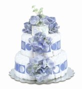 Bloomers Baby Baby Diaper Cake Classic Blue Hydrangea 2-Tier by