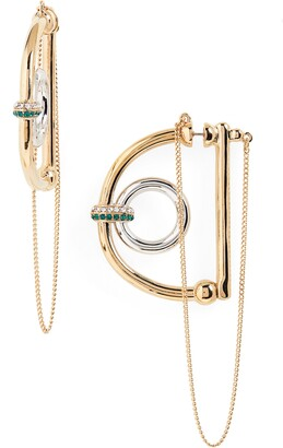 DEMARSON Dema Hoop & Chain Statement Earrings
