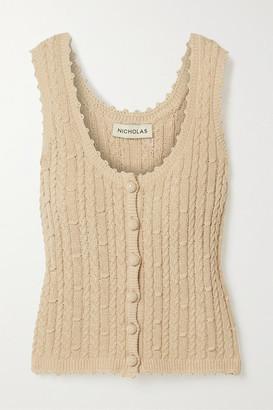 Nicholas Sheila Cropped Cable-knit Cotton-blend Tank - Beige