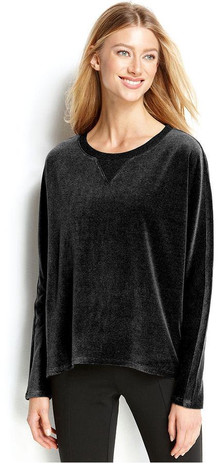 Calvin Klein Long-Sleeve Velour Pullover Top