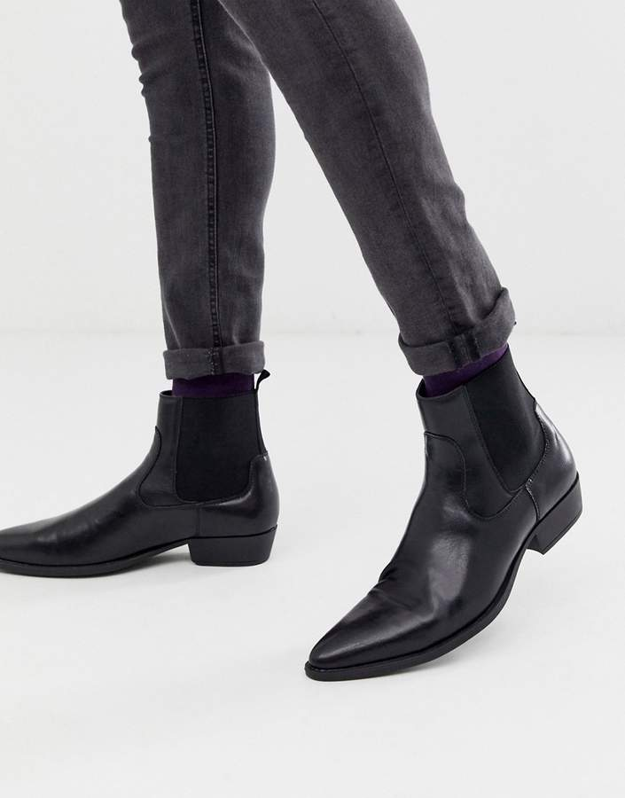 a9a51218923 Design DESIGN stacked heel western chelsea boots in black faux leather