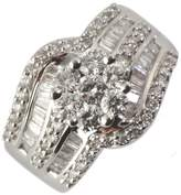 TriJewels 14K White Gold Natural White Round & Baguette Shape Diamond (SI2-I1-Clarity,-Color) 2.00 ct tw Anniversary Ring.size 7.5