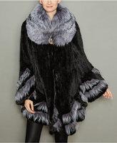 The Fur Vault Fox-Fur-Trim Knitted Mink Fur Coat