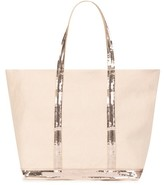 Vanessa Bruno Medium + Linen And Sequins Cabas Tote Bag With Zip