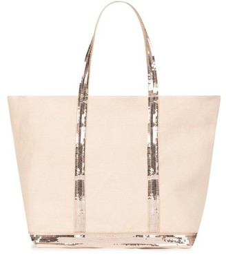 Vanessa Bruno Medium + Linen And Sequins Cabas Tote Bag With Zip