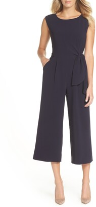 Tahari Side Tie Crepe Crop Jumpsuit