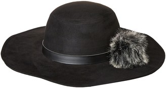 Rampage Women's Microsuede Floppy Hat with Faux Fur Pom