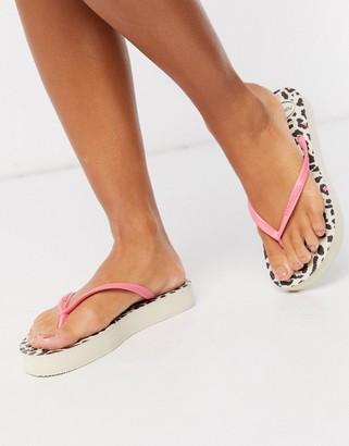 Havaianas flatform flip flop in pink leopard