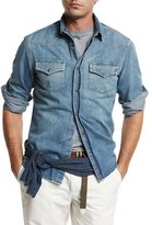 Brunello Cucinelli Western-Style Button-Down Denim Shirt, Powder Blue