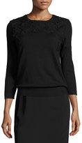 Magaschoni 3/4-Sleeve Lace-Trim Silk-Blend Sweater, Black/Black