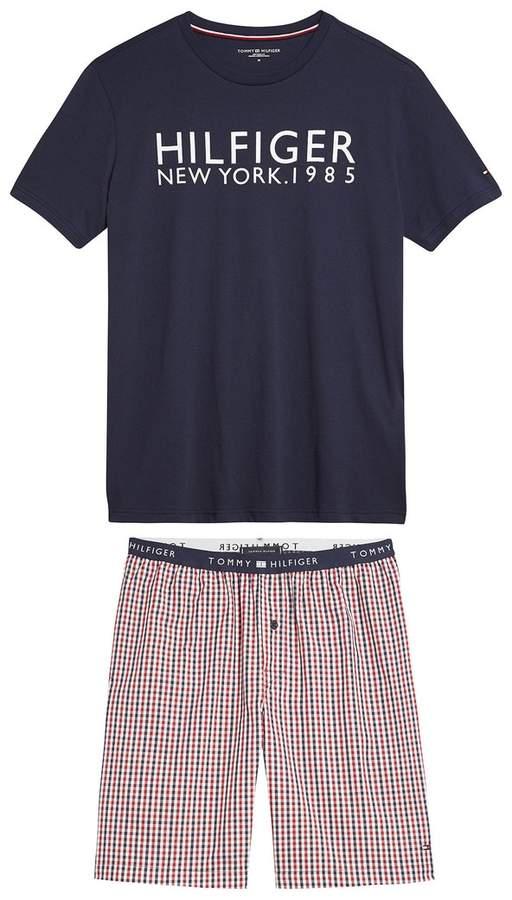 Tommy Hilfiger Printed Short-Sleeved Pyjamas with Check Shorts