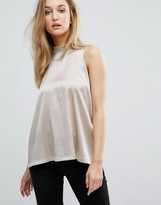 Reiss Blaire High Neck Silk Front Top