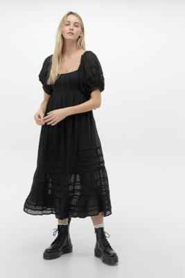 Free People Let's Be Friends Black Midi Dress - black XS at Urban Outfitters
