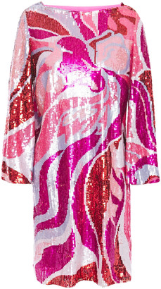 Emilio Pucci Printed Sequined Tulle Mini Dress